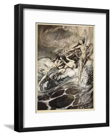 Rhinemaidens obtain possession of ring, illustration from 'Siegfried and the Twilight of Gods'-Arthur Rackham-Framed Giclee Print