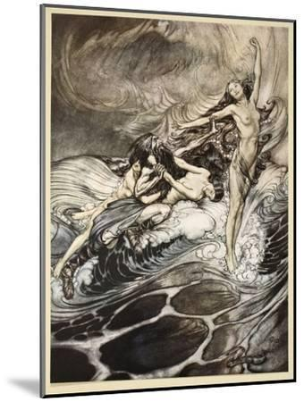 Rhinemaidens obtain possession of ring, illustration from 'Siegfried and the Twilight of Gods'-Arthur Rackham-Mounted Giclee Print