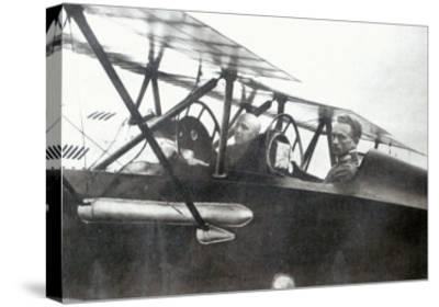 Gabriele d'Annunzio Flying with his Pilot to Drop Leaflets over Vienna, 1918--Stretched Canvas Print
