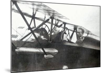 Gabriele d'Annunzio Flying with his Pilot to Drop Leaflets over Vienna, 1918--Mounted Giclee Print