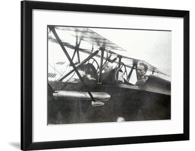 Gabriele d'Annunzio Flying with his Pilot to Drop Leaflets over Vienna, 1918--Framed Giclee Print