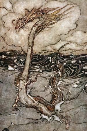 A Young Girl Riding a Sea Serpent, 1904-Arthur Rackham-Stretched Canvas Print