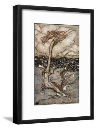 A Young Girl Riding a Sea Serpent, 1904-Arthur Rackham-Framed Giclee Print