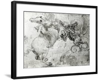 Battle between a Rider and a Dragon, c.1482-Leonardo da Vinci-Framed Giclee Print