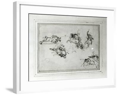 Study of Horsemen in Combat, 1503-4-Leonardo da Vinci-Framed Giclee Print