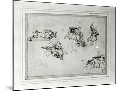 Study of Horsemen in Combat, 1503-4-Leonardo da Vinci-Mounted Giclee Print
