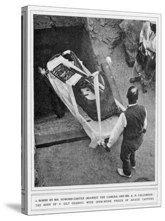 The Removal of a Gilt Chariot from the Tomb of Tutankhamun, by Howard Carter--Stretched Canvas Print