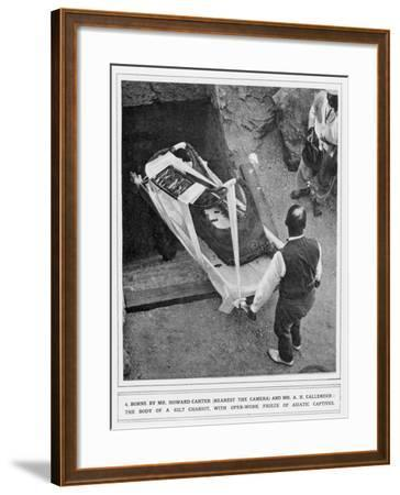 The Removal of a Gilt Chariot from the Tomb of Tutankhamun, by Howard Carter--Framed Giclee Print