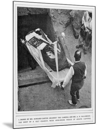 The Removal of a Gilt Chariot from the Tomb of Tutankhamun, by Howard Carter--Mounted Giclee Print
