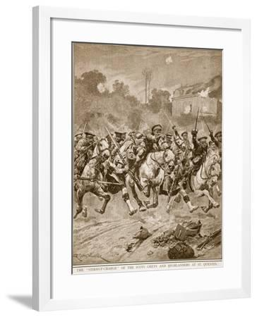 The 'stirrup-Charge' of the Scots Greys and Highlanders at St. Quentin, 1914-19-Richard Caton Woodville-Framed Giclee Print