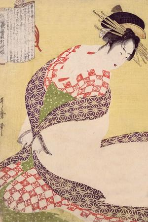 Courtesan Kneeling-Kitagawa Utamaro-Stretched Canvas Print