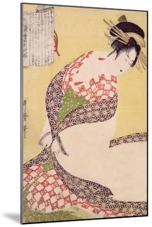 Courtesan Kneeling-Kitagawa Utamaro-Mounted Giclee Print