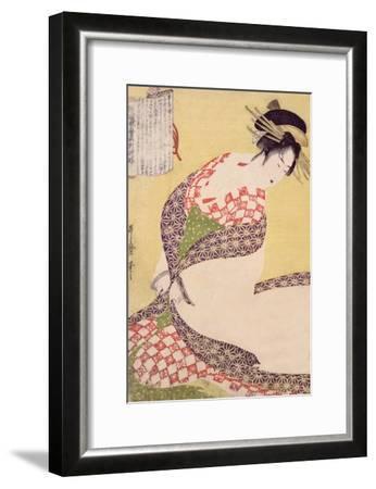 Courtesan Kneeling-Kitagawa Utamaro-Framed Giclee Print