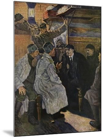 Lenin Returning from Abroad in 1917 on the Train from Finland--Mounted Giclee Print