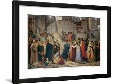 Provenzano Salvani Begging in Piazza del Campo-Amos Cassioli-Framed Giclee Print