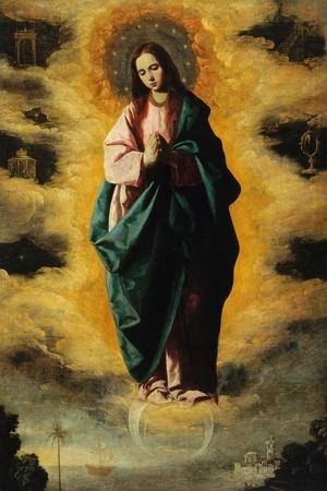 Immaculate Conception-Francisco de Zurbar?n-Stretched Canvas Print