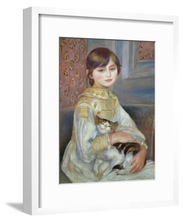 Portrait of Julie Manet or Little Girl with Cat-Pierre-Auguste Renoir-Framed Premium Giclee Print