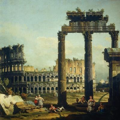 Roman Caprice with the Colosseum-Bernardo Bellotto-Stretched Canvas Print