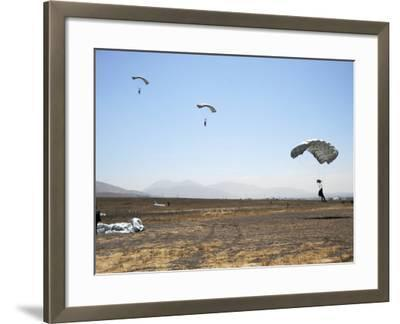 Freefall Parachute Jumpers Approaching the Trident Drop Zone in San Diego--Framed Photographic Print