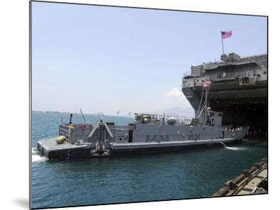 Landing Craft Utility Near Amphibious Assault Ship USS Essex in Subic Bay, Philippines--Mounted Photographic Print