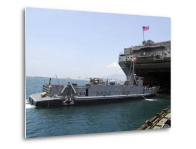 Landing Craft Utility Near Amphibious Assault Ship USS Essex in Subic Bay, Philippines--Metal Print