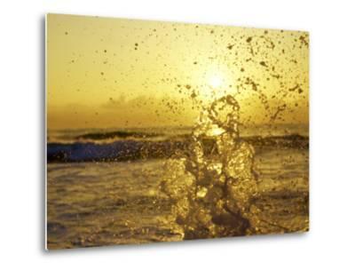 Water Splashing with Sun in the Background-Rob Lang-Metal Print