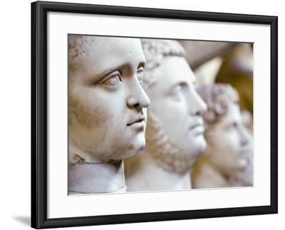 Close-Up of Statue Faces on a Shelf in the Vatican, Rome, Italy-Andrea Sperling-Framed Photographic Print