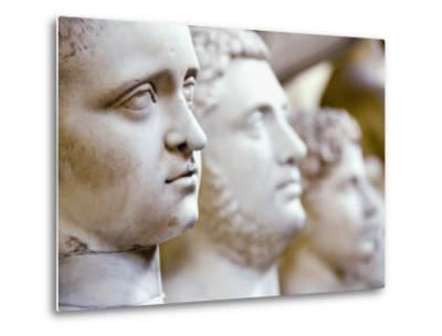 Close-Up of Statue Faces on a Shelf in the Vatican, Rome, Italy-Andrea Sperling-Metal Print