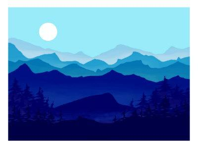 Blue Mountains, Evergreens and the Blue Moon-Rich LaPenna-Framed Giclee Print