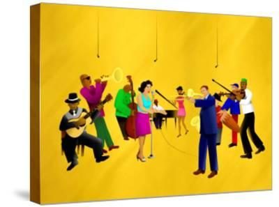 Big Jazz Band Performing-Rich LaPenna-Stretched Canvas Print