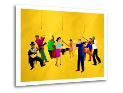 Big Jazz Band Performing-Rich LaPenna-Metal Print