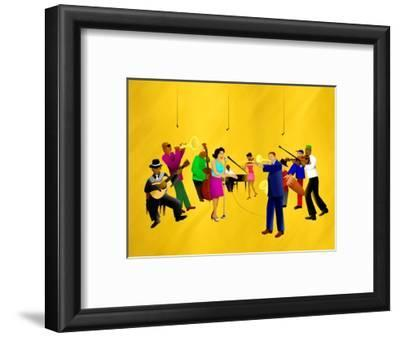 Big Jazz Band Performing-Rich LaPenna-Framed Giclee Print