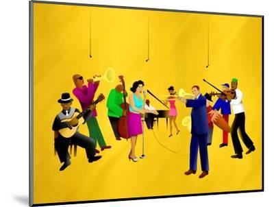 Big Jazz Band Performing-Rich LaPenna-Mounted Giclee Print