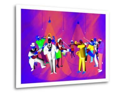 Impressionist Ethnic Big Band Performing on Golden Stage-Rich LaPenna-Metal Print