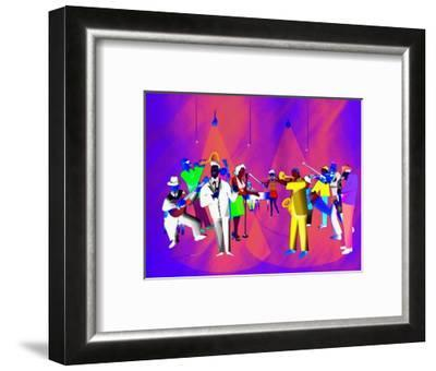 Impressionist Ethnic Big Band Performing on Golden Stage-Rich LaPenna-Framed Giclee Print