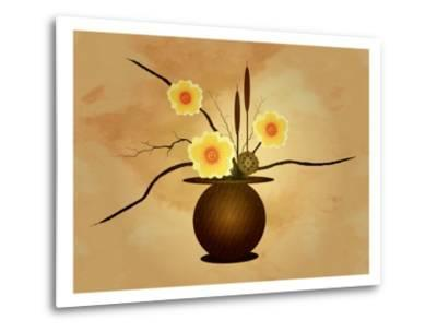 Three Yellow and Red Flowers in Vase with Cattail and Lotus Flower-Rich LaPenna-Metal Print