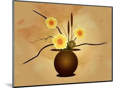 Three Yellow and Red Flowers in Vase with Cattail and Lotus Flower-Rich LaPenna-Mounted Giclee Print