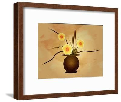Three Yellow and Red Flowers in Vase with Cattail and Lotus Flower-Rich LaPenna-Framed Giclee Print