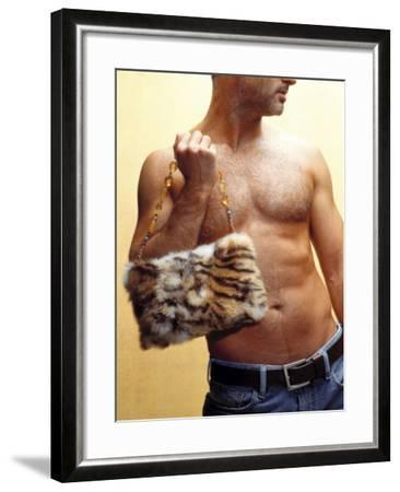 Shirtless Man Carrying an Animal Print Purse-Steve Cicero-Framed Photographic Print