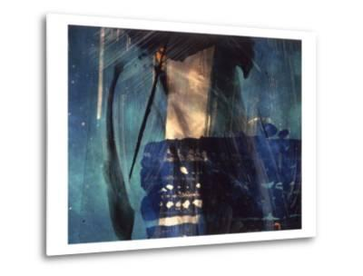 Abstract Image in Blue and White-Daniel Root-Metal Print