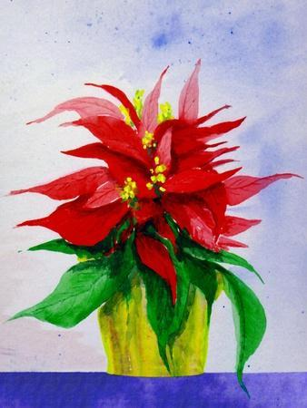 Poinsetta Flower in Pot-Rich LaPenna-Stretched Canvas Print