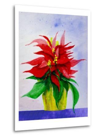 Poinsetta Flower in Pot-Rich LaPenna-Metal Print