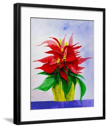 Poinsetta Flower in Pot-Rich LaPenna-Framed Giclee Print
