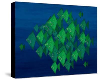 School of Green Triangle Fish on Blue Underwater Background-Rich LaPenna-Stretched Canvas Print