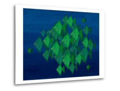 School of Green Triangle Fish on Blue Underwater Background-Rich LaPenna-Metal Print