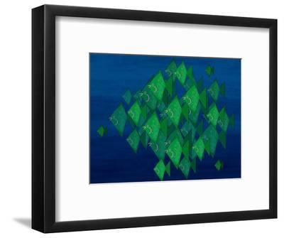 School of Green Triangle Fish on Blue Underwater Background-Rich LaPenna-Framed Giclee Print