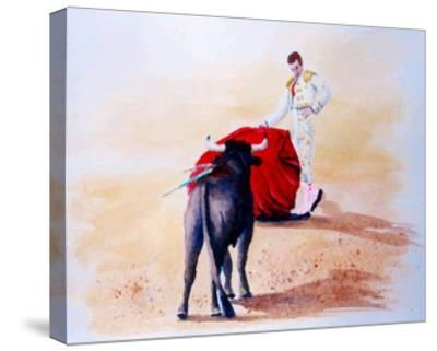 Matador Holds Red Cape Up to Bull-Rich LaPenna-Stretched Canvas Print