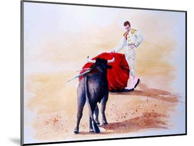 Matador Holds Red Cape Up to Bull-Rich LaPenna-Mounted Giclee Print