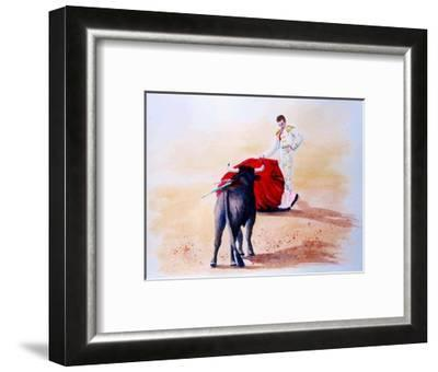 Matador Holds Red Cape Up to Bull-Rich LaPenna-Framed Giclee Print