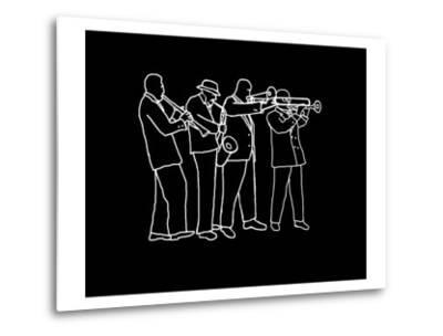 Neon Horn Band New Orleans Style-Rich LaPenna-Metal Print